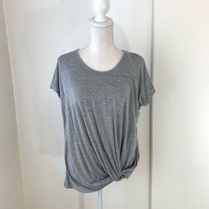 Luxe Heathered Gray Short Sleeve Top w Knot {JW}